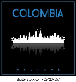 Colombia, skyline silhouette vector design on parliament blue and black background.