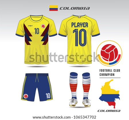 Colombia soccer jersey or team apparel template. Mock up Football uniform  for football club. Yellow and blue layout football sport t-shirt design.  Vector ... 05448e48e