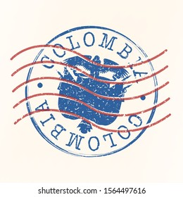 Colombia Stamp Postal. Silhouette Seal. Passport Round Design. Vector Icon. Design Retro Travel. National Symbol.