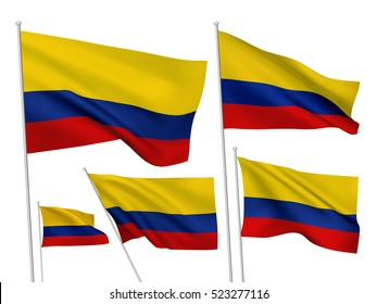 Colombia vector flags set. 5 wavy 3D cloth pennants fluttering on the wind. EPS 8 created using gradient meshes isolated on white background. Five flagstaff design elements from world collection