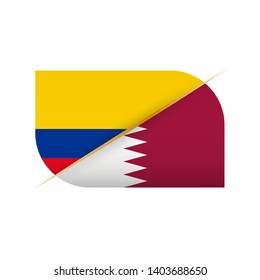 Colombia versus Qatar, two vector flags icon for sport competition.