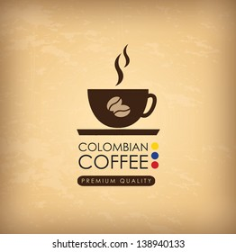 colombian coffee over vintage background vector illustration
