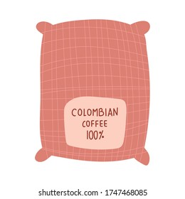 colombian coffee sack product free form style icon vector illustration design