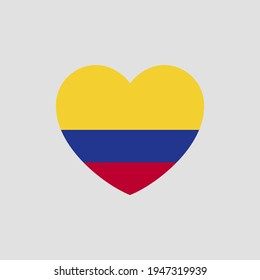 Colombian flag in heart shape vector love Colombia