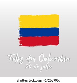 Colombian Independence Day greetings vector illustration for banners, backgrounds. Creative colombian national day poster. Feliz dia columbia