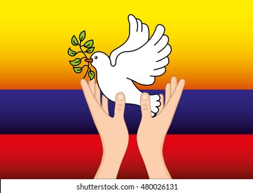 colombian peace dove with olive branch vector illustration design