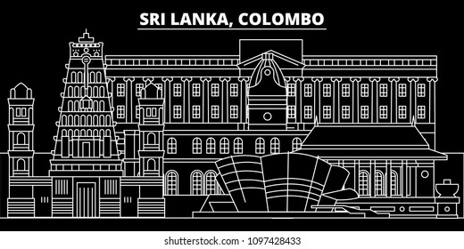 Colombo silhouette skyline. Sri Lanka - Colombo vector city, sri lankan linear architecture, buildings. Colombo travel illustration, outline landmarks. Sri Lanka flat icon, sri lankan line banner