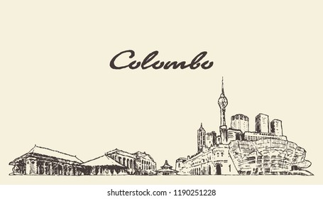 Colombo skyline, Shri Lanka, vintage engraved illustration, hand drawn