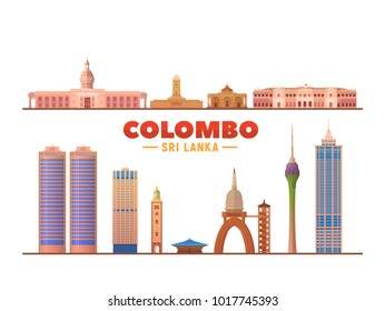 Colombo (Sri Lanka) landmarks in white background. Vector Illustration. Colombo lighthouse, Gold temple, famous churches and mosque.