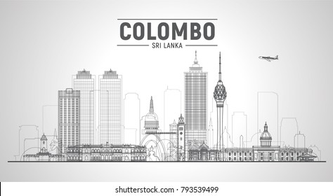 Colombo (Sri Lanka) line skyline with panorama in sky background. Vector Illustration. Business travel and tourism concept with modern buildings. Image for presentation, banner, placard and web site.