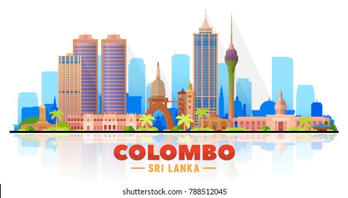 Colombo (Sri Lanka) skyline with panorama in white background. Vector Illustration. Business travel and tourism concept with modern buildings. Image for presentation, banner, placard and web site.