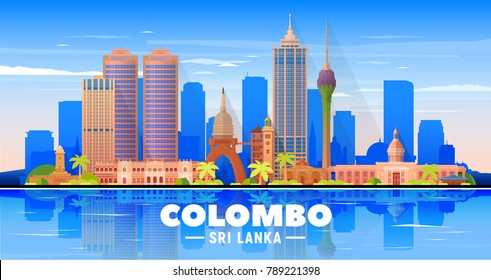 Colombo (Sri Lanka) skyline with panorama in sky background. Vector Illustration. Business travel and tourism concept with modern buildings. Image for presentation, banner, placard and web site.