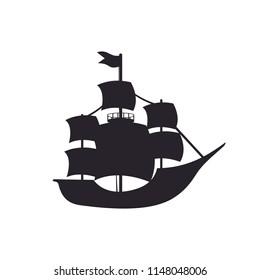 colombus silhouette ship vector