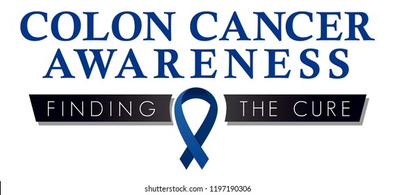 Colon Cancer Awareness Campaign Symbol, Blue Awareness Ribbon, Finding the Cure for Colorectal Cancer, Fundraising Logo to Promote Screening and Colon Health, Public Education Icon for Medical Offices