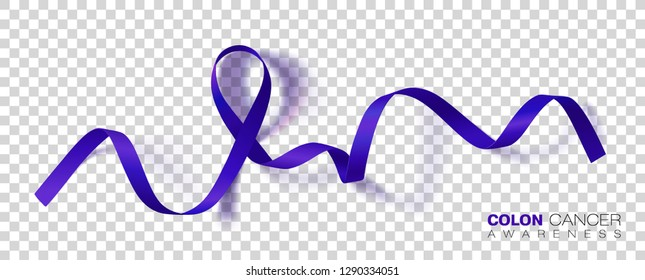Colon Cancer Awareness Month. Dark Blue Color Ribbon Isolated On Transparent Background. Colorectal Cancer. Vector Design Template For Poster.
