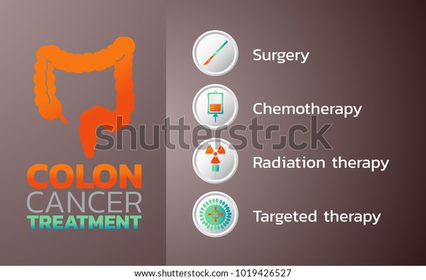 Colon Cancer Treatment Icon Design Infographic Stock Vector Royalty Free 1019426527