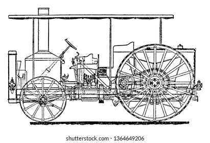 Colonel Crompton Superheated Steam Tractor where the boiler located in the front heats the water then the steam enters the piston near the rear wheel, vintage line drawing or engraving illustration.