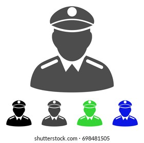 Colonel flat vector illustration. Colored colonel, gray, black, blue, green pictogram versions. Flat icon style for graphic design.