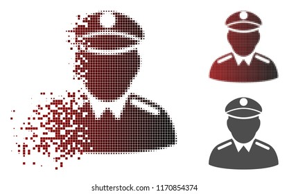 Colonel icon in dissolved, pixelated halftone and undamaged whole versions. Particles are combined into vector disappearing colonel pictogram.