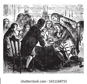 Colonel Sloughter signing the Death-warrant;,vintage line drawing or engraving illustration.