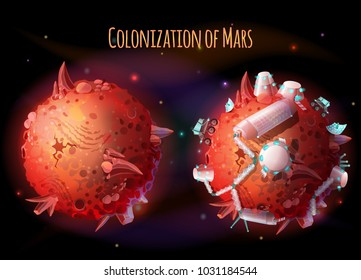 Colonization, exploration and terraforming of Mars, vector concept illustration. Futuristic landscape with two red planets, one lifeless, with mountains and craters, another with space base for humans