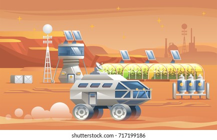 Colonization of Mars. Base Camp. Residential compartments with greenhouses and rover. Vector illustration