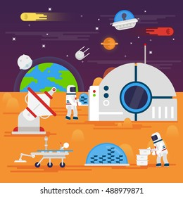 Colonization of Mars. Space landscape, rover, astronaut, Earth, planets, stars, comets, Moon, clouds, mountains, space station, satellite, space infographics elements - flat vector illustration.