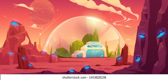 Colonization of planet, space station, bunker, scientific laboratory building under transparent spherical dome on alien fantasy craters landscape background, computer game, cartoon vector illustration
