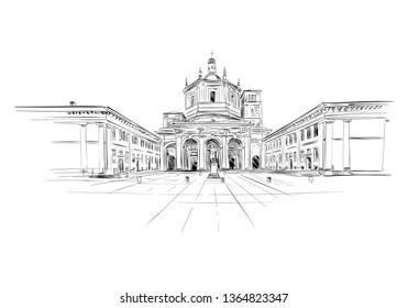 Colonnade of San Lorenzo. Corso di Porta Ticinese, Milan. Italy. Hand drawn sketch. Vector illustration.