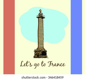 Colonne Vendome.Paris,France Vector travel destinations, hand drawn graphic elements for traveling to France.
