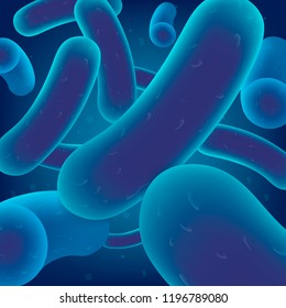 Colony of Bacteria, Virus Cells or Microbes Realistic Vector. Symbiotic Human Microorganism, Intestinal Microflora Probiotic, Dangerous Pathogen Infection, Genetically Modified Organism Illustration