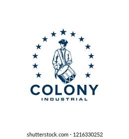 Colony logo design with illustrations of soldiers wearing hats and carrying drum instruments surrounded by stars