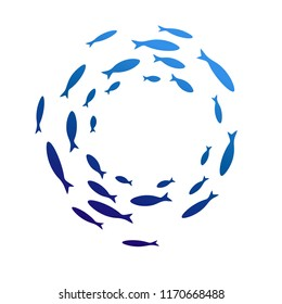 Colony of swiming sea or aquarium fishes. Group of color silhouttes.  Isolated vector round decoration. Top view.
