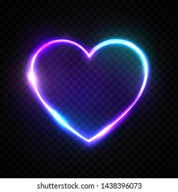 Color 3d bright heart. Electric neon sign. Retro neon heart sign on transparent background. Design element for Happy Valentine's Day. Ready for your design, greeting card, banner. Vector illustration.