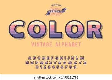 Color. 3D serif font. Modern type with shadow for brand logotype. Isolated background.