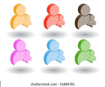 Color 3d web icons. Vector illustration