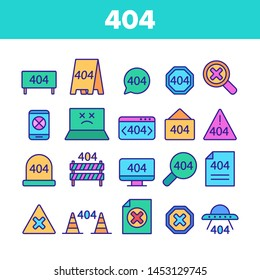 Color 404 HTTP Error Message Vector Linear Icons Set. 404 Page Not Found Outline Symbols Pack. Internet Connection Problem, Broken Link. Standard Response Code Isolated Contour Illustrations