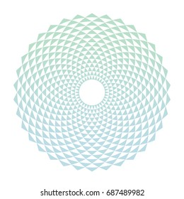 Color abstract circle design element with triangle pattern. Gradient circle background. Digital flower emblem. Vector illustration.