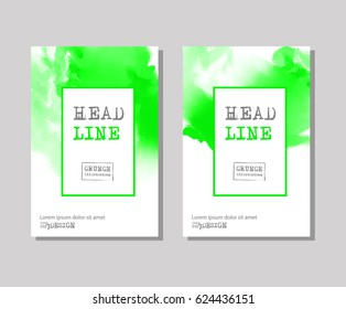 Color abstract design set. Ink paint on brochure, Colour element isolated on white. Grunge banner paints. Simple composition. Liquid ink. Background for banner, card, poster, identity,web design.