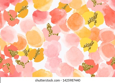 Color, abstract, diverse seamless pattern with colorful watercolor and gold glitter shapes made in vector