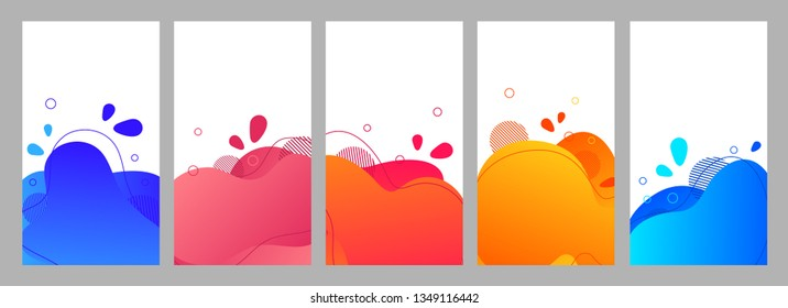 Color abstract fluid social media background set. Wavy bubble web banner, screen, mobile app colorful design. Flowing liquid gradient shapes. Geometric social network stories theme template pack