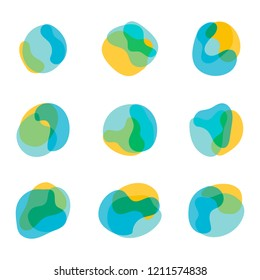 Color abstract free shapes, yellow blue and green