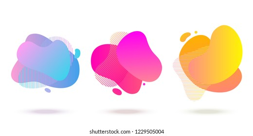 Color abstract liquid shape, halftone patterns, fluid color overlap gradient background. Vector creative neon color splash shapes design