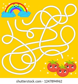 Color abstract maze. Help the rainbow to reach the tomatoes. Kids worksheets. Activity page. Game puzzle for children. Cartoon style. Labyrinth conundrum. Vector illustration