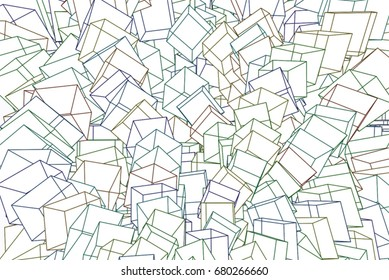 Color abstract square, rectangle pattern generative art background. 3D perspective view. Vector illustration graphic.