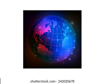 Color abstraction globe.Vector