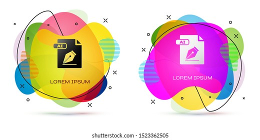 Color AI file document. Download ai button icon isolated on white background. AI file symbol. Abstract banner with liquid shapes. Vector Illustration