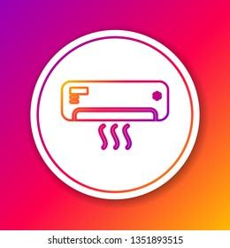 Color Air conditioner with fresh air line icon isolated on color background. Split system air conditioning sign. Cool and cold climate control system. Circle white button. Vector Illustration