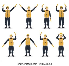 color aircraft carrier marshal hand signals
