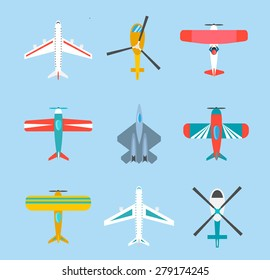 Color airplanes and helicopters icons set, top view, vector illustration, isolated. Travel by air, aircraft flight